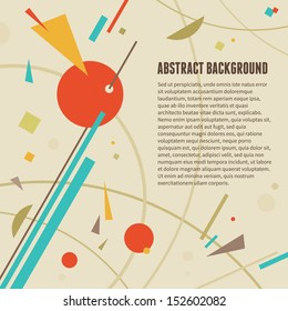 Abstract vector background with cretive design elements in russian constructivizm style of 1920-30.  Banner concept illustration.