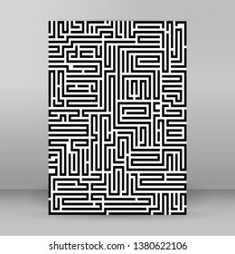 Abstract vector background design with maze mosaic texture. Good cover for book on psychology, creative problem solving, logical thinking, study of human relations