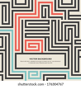 Abstract vector background design with maze texture and place for your text isolated. Good cover for a book on psychology, creative problem solving, logical thinking, the study of human relations