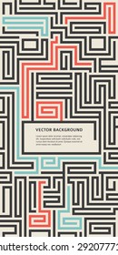 Abstract vector background design with maze texture and place for your text isolated. Good cover for a booklet on psychology, creative problem solving, logical thinking, the study of human relations