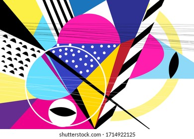 Abstract vector background with different geometric elements on a retro background.
