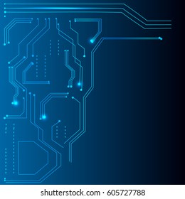 Abstract vector background of digital technologies. Hi tech computer motherboard. technical background.  Science fiction background. Computer technology. Light effects are modern digital elements.