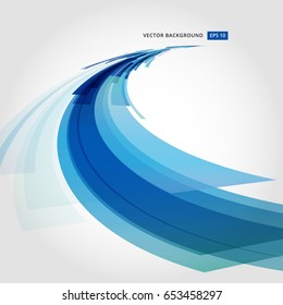 Abstract vector background element in blue and white colors curve perspective