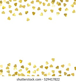 Abstract vector background with falling golden hearts. Gold confetti on white background. EPS 10.