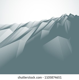 Abstract vector background with fantastic landscape terrain of cosmic planet, geometric 3d line art abstract background of skyline. Usable as template for layout with copy space for title and text.
