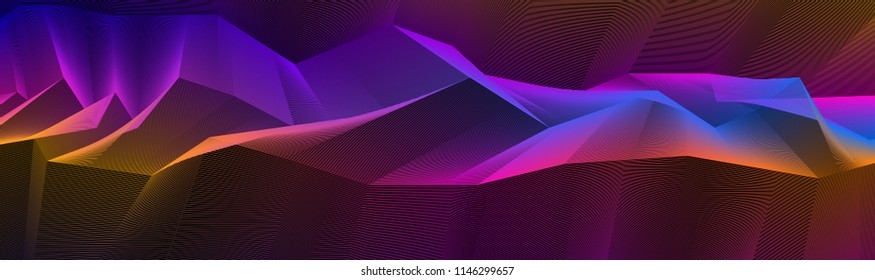 Abstract vector background with fantastic landscape terrain of cosmic planet, geometric 3d line art abstract background of skyline.