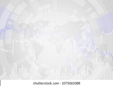 Abstract vector background with financial graph line in stock market.