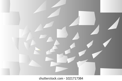 Abstract vector background with flying, falling, scattered office white paper sheets, documents. backdrop with flight paper, illustration of clear chaotic paper.