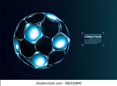 Abstract vector background. football soccer blue light in the dark concept