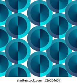 Abstract vector background geometric circle pattern isolated on card, concept design template for business banner, cover, flyer, promo, blue color, vector eps 10