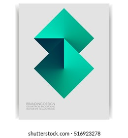 Abstract vector background geometric diamond shape isolated on card, concept design template for business banner, cover, flyer, promo, green colors, vector eps 10