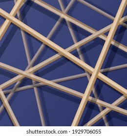 Abstract vector background. Gold 3d lines on dark blue glass surface with reflection and shadows.