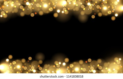 Abstract vector background with gold sparkles. Shiny defocused gold bokeh lights on black background. Festive gold background for card, flyer, invitation, placard, voucher, banner.