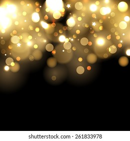 Abstract vector background with gold sparkles. Shiny defocused gold bokeh lights on black background. Festive gold background for card, flyer, invitation, placard, voucher.