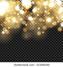 Abstract vector background with gold sparkles. Shiny defocused gold bokeh lights on dark transparent background. Festive gold background for card, flyer, invitation, placard, voucher.