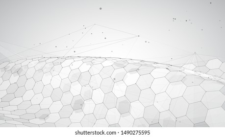 abstract vector background with hexagons. landscape of the virtual world. 3d design
