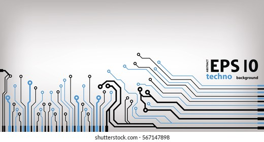 Abstract vector background with high tech circuit board. Microchip background vector illustration