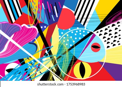 Abstract vector background with interesting geometric objects and shapes.