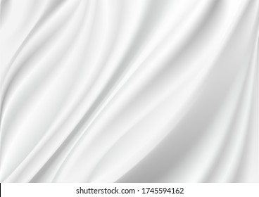 Abstract vector background luxury white cloth or liquid wave Abstract or white fabric texture background. Cloth soft wave. Creases of satin, silk, and cotton.