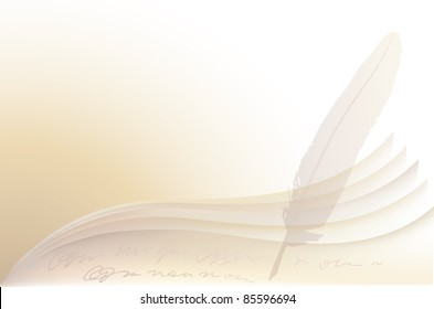Abstract vector background of the manuscript sheets of paper and a pen