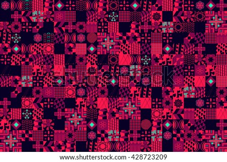 Abstract vector background with many objects