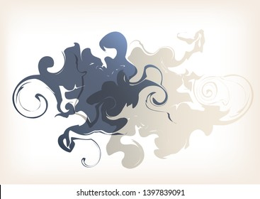 Abstract vector background with marble patterns. Illustration of ebru style. Fluid pattern with geometric shapes, curls, spirals. The effect of fluidity smoke. Beige and gray decorative liquid element