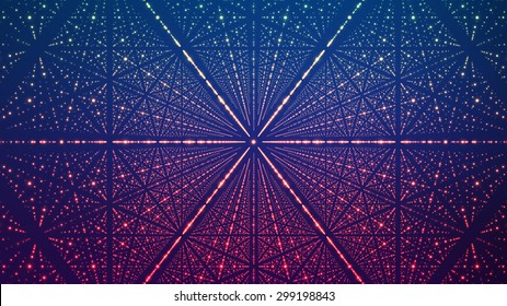 Abstract vector background. Matrix of glowing stars with illusion of depth and perspective. Abstract futuristic space background.