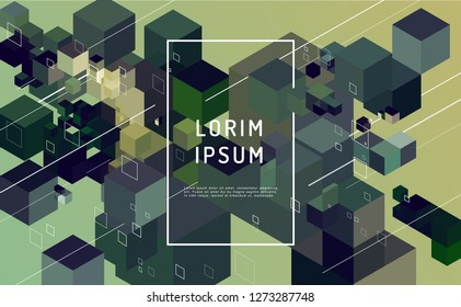 Abstract vector background. Modern composition with cube and lines shape and place for text or message