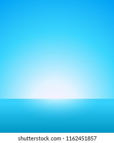 Abstract Vector Background of Nautical Marine Landscape with Blue Sky, Horizon and Beautiful Ocean. Not cluttered Light Wallpaper for Travel company or Business with Bright Atmosphere.