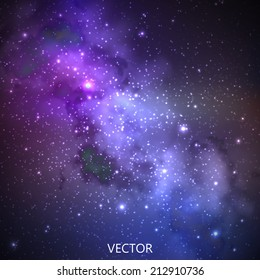 abstract vector background with night sky and stars. illustration of outer space and Milky Way