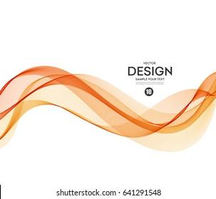 Abstract vector background, orange waved lines for brochure, website, flyer design. Transparent wave. Science or technology design