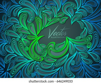 Abstract vector background. Ornate pattern of multi-layered petals, quilling paper. Stylish abstract vector floral ornamental texture