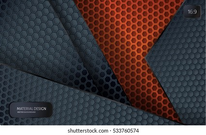 Abstract vector background.  Overlapping carbon grid. Material Design style. Hexagon grid. Vector design. Technology background. 16:9