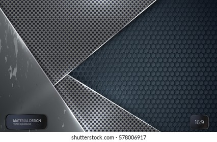 Abstract vector background.  Overlapping perforated steel plate with carbon grid. Material Design style. Hexagon grid. Vector design. Technology background. Scratch plate 16:9.