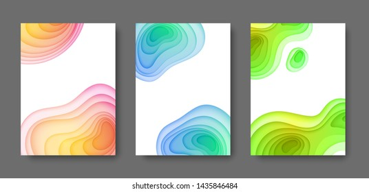 Abstract vector background paper cut. Gradient futuristic shapes. Wavy geometric template. Fluid frames