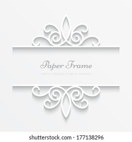 Abstract vector background with paper divider element, header, ornamental frame with shadow, eps10