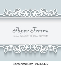 Abstract vector background with paper dividers, header, lacy ornamental frame, eps10