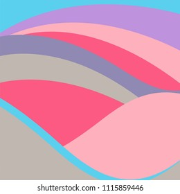Abstract vector background with rainbow waves in pastel neon colors: pink, silver, lavender, turquoise.