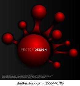 Abstract Vector Background. The red 3D ball is interconnected with a black background. molecular illustration design