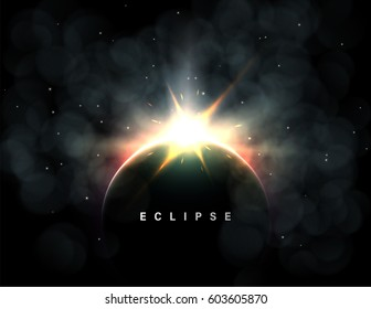 Abstract vector background with a solar eclipse or planetary collision. Large flash or explosion with dust and red glow.