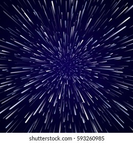 Abstract vector background with Star Warp or Hyperspace Travel. Blue Space Concept of moving stars lights.