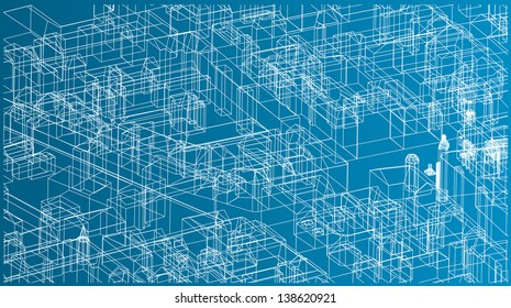 Abstract vector background of a town blueprint.
