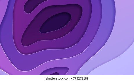Abstract vector background in trendy ultra violet color scheme. Multi layers papercut illustration. Cut out 3d purple texture for wide screen.