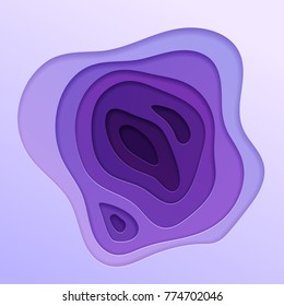 Abstract vector background in trendy ultra violet color scheme. Multi layers papercut illustration. Cut out 3d purple texture.
