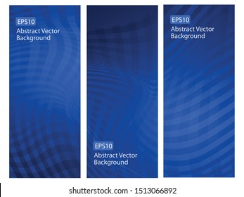 Abstract Vector Background Vertical Template Set - Unique Creative dark gradient blue graphics . Perfect set for Healthcare and Business.