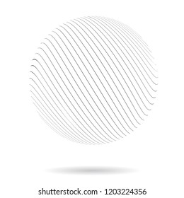 Abstract Vector Background. Wave Optical Illusion. Black and White thin Lines sphere. Clear linear template for web and graphic design.