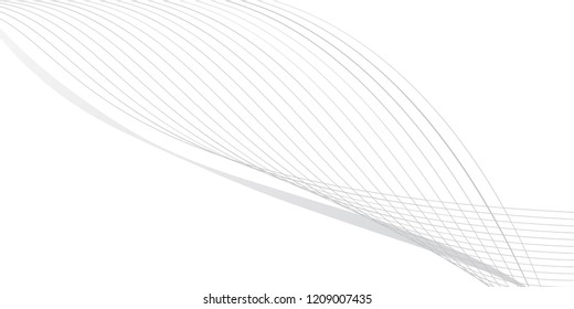 Abstract Vector Background. Wave Optical Illusion. Black and White thin Lines. Clear linear template for web and graphic design.