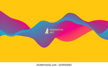 Abstract vector background of waves. Dynamic Effect. 3D Vector Illustration. Design Template.