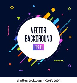 Abstract vector background with white circle for text message and abstract colorful elements. Modern neon lines and design element for your art. Vector EPS 10 background