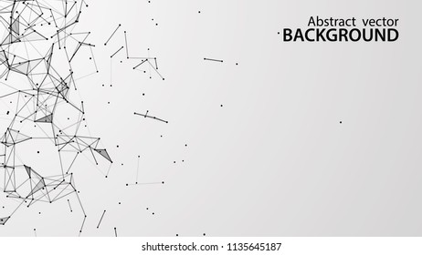 Abstract vector background. White background .Connecting dots and lines. Plexus effect.